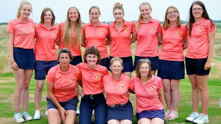 The squad that represented Norfolk Ladies at County Week line up for a picture at Hunstanton with c