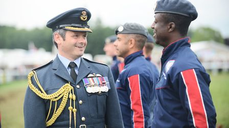 RAF Marham Group Captain Rich Davies meeting The RAF Falcons Parachute Display Team, after they made
