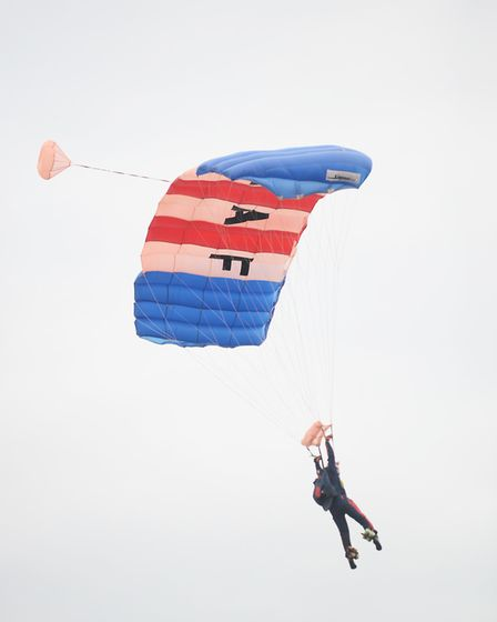 The RAF Falcons Parachute Display Team make their way into the Grand Ring at the Royal Norfolk Show.