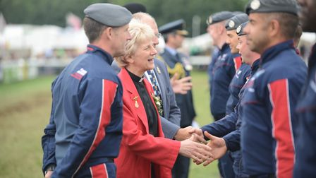 Royal Norfolk Show president the Very Rev Jane Hedges meeting members of The RAF Falcons Parachute D