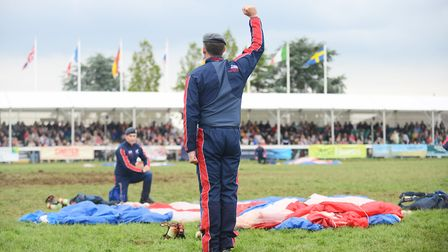 Members of The RAF Falcons Parachute Display Team in the Grand Ring at the Royal Norfolk Show. Pictu