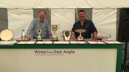EAVA chair Guy Howard with host Peter Moore, owner of Toppesfield vineyard, at the East Anglian Vine