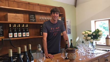Host Peter Moore, owner of Toppesfield vineyard, at the East Anglian Vineyards Association (EAVA) an