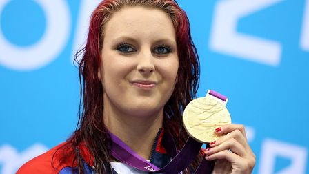 Jessica-Jane Applegate on the podium with her gold medal after the Women's 200m Freestyle. Picture: