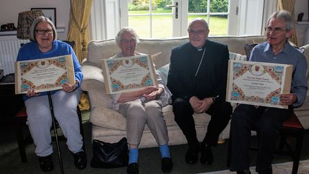 Mary Prentice received her blessing with two others who were recognised for their service. Picture: