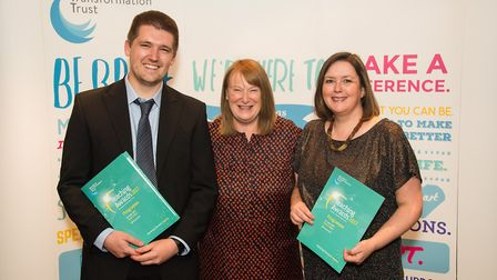 Mildenhall College Academy principal Susan Byles, centre, with winners Martin Sexton and Clare Clay,