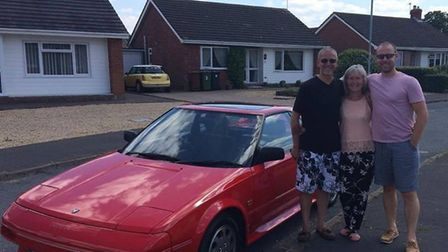Paul Jewiss (right) bought his dad Michael an original MR2 MKI Toyota as a Father's Day gift. Pictur