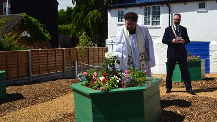 Thorpe St Andrew's rector, James Stewart, dedicated the sensory garden. Photo: Thorpe St Andrew Town