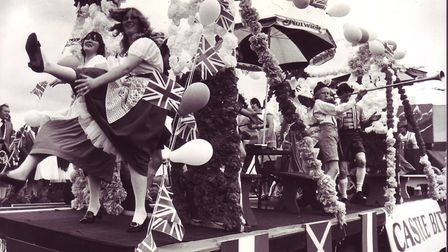 Some of the girls on the Norwich Brewery's winning float celebrate at Beccles Carnival, dated August