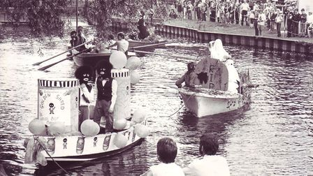 Decorated floats at Bungay regatta, dated August 9, 1982. Photo: Archant Library.