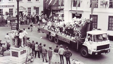 The Royal British Legion float winds its way through the Market Place during Bungay's Hog Fair carni
