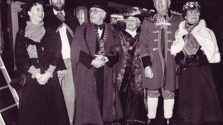 At the official opening of the Bungay Town Victorian Street Fair, dated December 9, 1988. Photo: Arc
