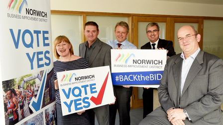 Norwich BID hopes to win another term for the next five years.Sarah Steed, Paul McCarthy, Peter Mit