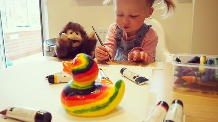 Thea Myatt, decorating a duck in preparation for this year's race. Picture: Laura Myatt.