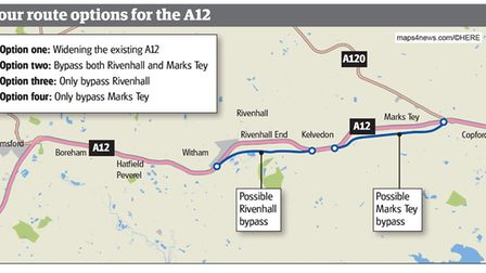 The four route options for a widened A12 between Chelmsford and Colchester. Picture: ARCHANT GRAPHIC