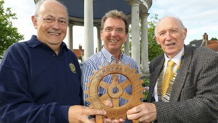 New Swaffham Visual Arts Festival Patron Tony Abel (centre) with Festival committee chairman Stephen