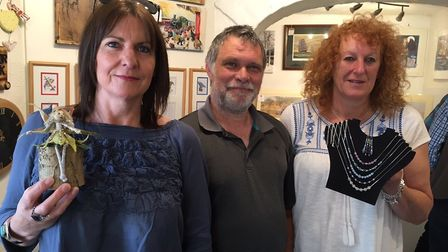 Norski Noo's offers exhibition space to 90 artists and crafters. Gallery owner Andy Sullivan (centre
