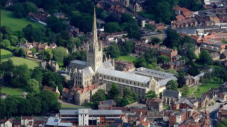 An aerial photograph of Norwich Cathedral. Picture: John Fielding