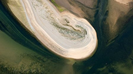 An aerial photograph of seals basking on Blakeney Point. Picture: John Fielding