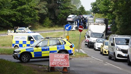 Police at the scene of a fatal collision on the A146 near Chedgrave.Picture: Nick Butcher