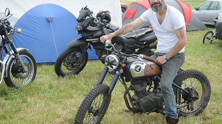 Pasha Coxhill, from Liverpool, who built his bike from parts of different machines. Picture: Chris B