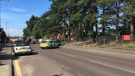 Emergency services were called to a car on fire in Sprowston Road, Norwich. Picture: Sophie Wyllie