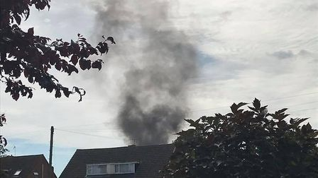 The smoke from the fire in Toftwood. Picture: Amanda Walker