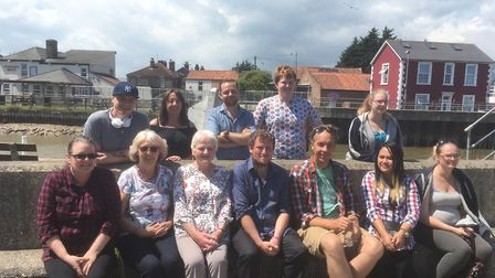 Steve Farrel (front and centre) along with a cast members and volunteers for his Our Town project. P