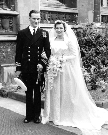 Jim Bowles and Berice (nee Hindle) just after their wedding at St Peter Mancroft in August,1956. Thi