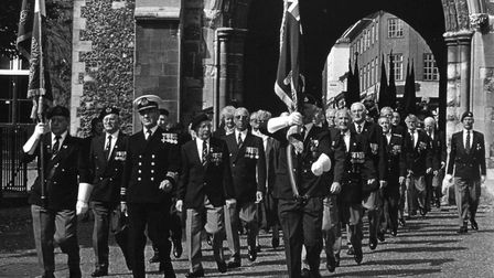 Jim Bowles, at the head of a Royal Naval Association group in a march to mark the 50th anniversary o