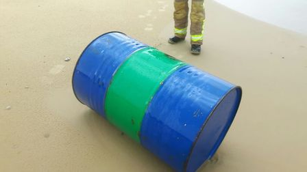 One of the barrels from the sunken tug boat, Ella, that washed up on Kessingland Beach. Photo: HM Co