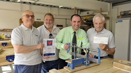 At the Halesworth Men�s Shed base, from left, Derek Wilkin, Nick Rowlerson, Co-op customer team lead