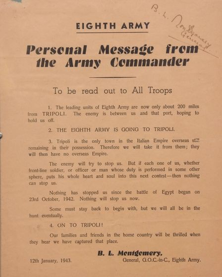 Montgomery signed message to troops, estimate £600-£800 Picture: Keys Fine Art Auctioneers