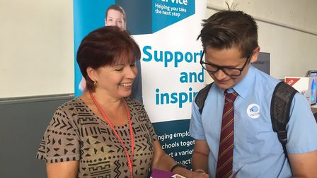 Melinda O'Connor, a careers advisor with Beacon East, with pupil Callum Brown at the North East Norf