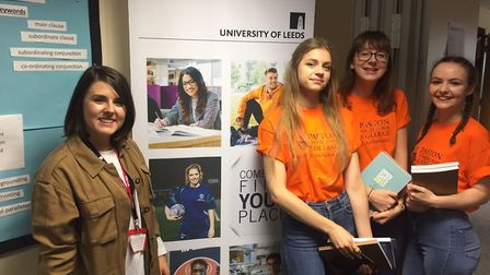Bethany Suggett from Leeds University with pupils from Paston Sixth Form College at the North East N