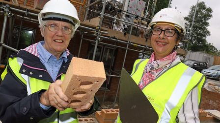 Carol Sangster of Norwich Housing Society (left) and Norwich city councillor Gail Harris lay the 'Go