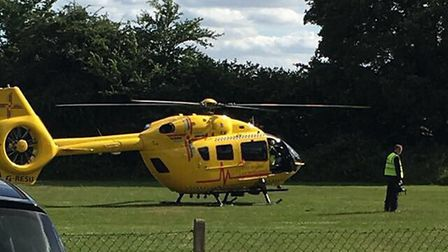 The air ambulance was called to East Tuddenham after a boy suffered a serious back injury. Pic: Jack