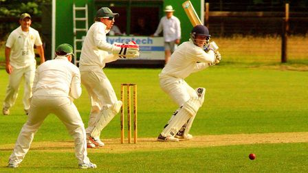 Luke Schlemmer on his way to a century for Great Witchingham last weekend. Picture: Tim Ferley