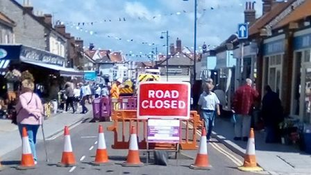Anglian Water's road closure in Sheringham. Picture: Helen Sidell