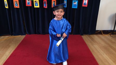 Yaseen Rouf, 4, at the Jelly Tots Nursery graduation. Picture: Rebecca Murphy