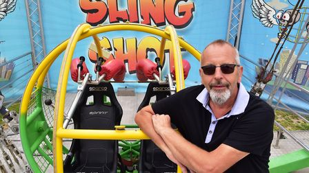 A new 'Slingshot' ride opens along Yarmouth seafront. Business owner Ray Knowles. Picture: Nick Butc