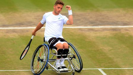 Alfie Hewett celebrates a winner during the wheelchair double final. Picture: PA