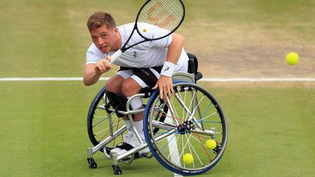Alfie Hewett was in inspired form during his doubles win at Wimbledon alongside Gordon Reid. Picture