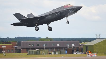 The F-35 Lightning making its first flypast over its future home at RAF Marham. Picture: Ian Burt