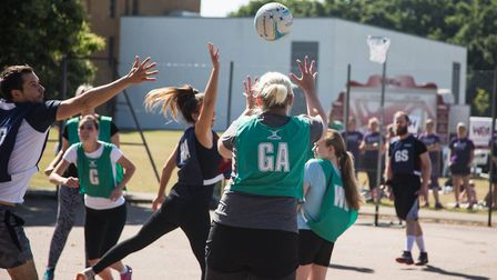 Players in the memorial netball tournament. Photo: Chris Thompson