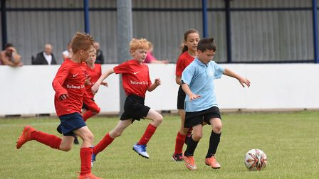 Lowestoft Town Football Club host a schools football tournament. St Margarets primary V Red Oak (red