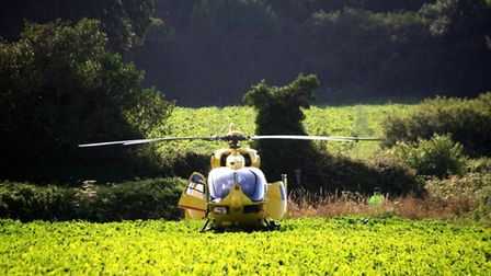 The Air Ambulance team were spotted in West Beckham early on July 13. Picture: Jo Johns