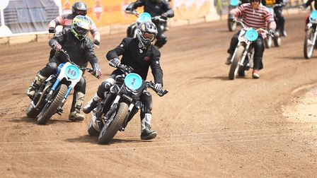 Action from the Sunday at the Dirt Quake event in King's Lynn. Out in front is Carl Fogarty. Picture