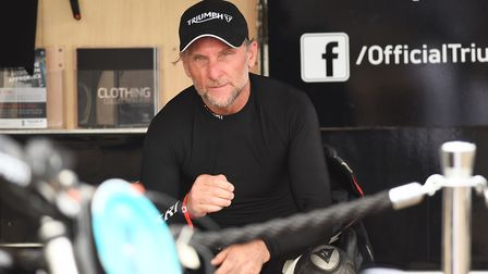 Action from the Sunday at the Dirt Quake event in King's Lynn. Pictured is Carl Fogarty. Picture: Ia