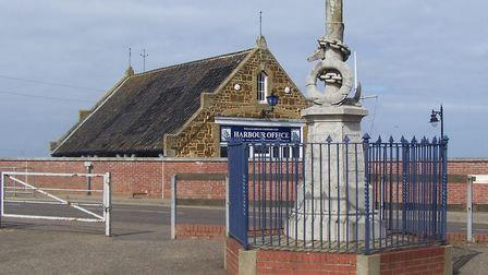 The Eliza Adams memorial as it is today, with the Wells harbour office in the background, which was